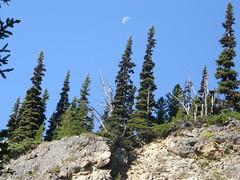 Moon above cliffs nearing Marmot Pass.