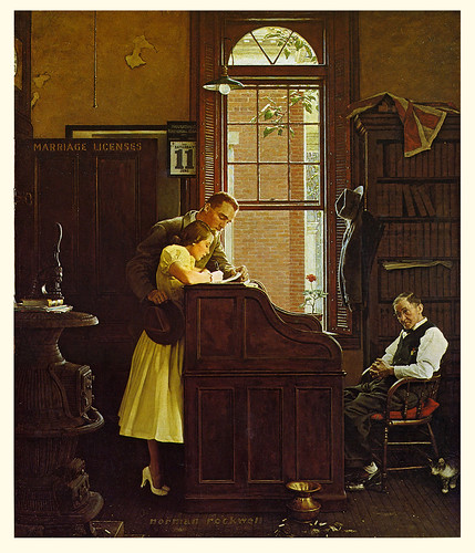 The Marriage License,Post cover,June 11,1955--by Norman Rockwell