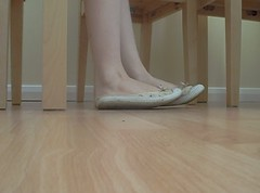 Shoe Tease Video (Artistic Feet) Tags: wood red ballet sexy film feet girl movie asian foot shoe video shoes pretty play floor skin artistic little flats nails barefoot playfull videos palr
