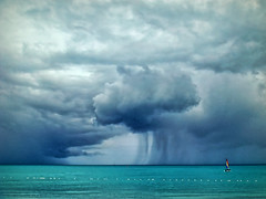A (not so) distant storm (maistora) Tags: ocean blue light sea sky holiday storm color colour d