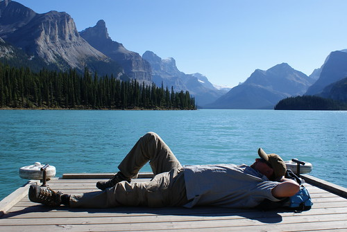 Pause am Maligne Lake