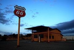 An old Phillips 66 gas station on Route 66 in Topock, Arizona