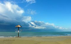autumn, calambrone beach, lifeguard tower (paolo brunetti) Tags: autumn winter sky tower beach clouds sand blu lifeguard pisa toscana livorno spiaggia beachboys tirrenia calambrone worldwidelandscapes natureselegantshots