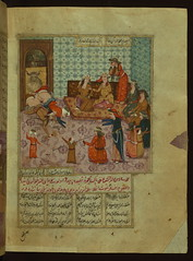 Five poems (quintet), An adulterous husband and his lover butted by a ram, Walters Manuscript W.666, fol. 55b (Walters Art Museum Illuminated Manuscripts) Tag