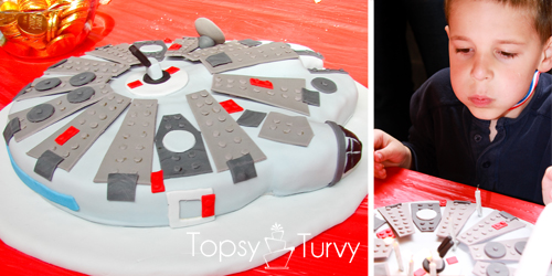 Lego-Star-Wars-birthday-party-food-millennium-falcon-cake