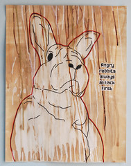 Angry rabbits always attack first (id-iom) Tags: uk england rabbit london ink paper graffiti paint tea attack first angry brixton idiom vandalsim dripscoffee