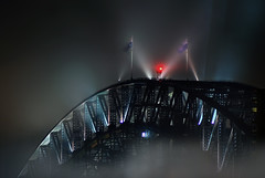 Bridge In The Mist (Bruce Kerridge) Tags: longexposure bridge sky mist night clouds nikon sydney australia sydneyharbourbridge d80 colorphotoaward