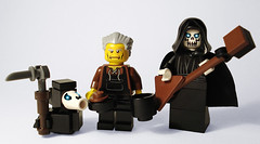 Grim Squeaker, Albert and DEATH 2.0 (captainsmog) Tags: death funny lego guitar books minifigs custom terrypratchett mocs scythe discworld disquemonde