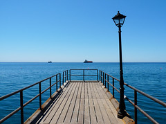 (ssj_george) Tags: blue light sea sky lamp pier ships horizon cyprus pole deck tankers limassol molos limasol