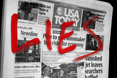 Lies (matthileo) Tags: red news art painting graffiti paint painted lies usatoday selectivecolor splashofcolor selectivecoloring