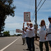 (L-R: Norma Wightman, Chuck Mills, Randy Ball, Karen Watts) work street.   SOSP Save our State Parks Public Rally at the Pismo Butterfly Grove, Pismo, CA, 06 June 2009, to protest the proposed closure of most of the CA State Parks