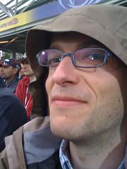 Hood Man (becksldrt) Tags: wet rain glasses hood xavier worldcup raincoat twenty20 englandvpakistan citcket