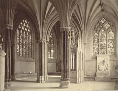 Chapel, Wells Cathedral (Cornell University Library) Tags: sculpture cathedrals stainedglass chapels inscriptions tombs memorials tracery ribbedvaults cornelluniversitylibrary religiousinteriors wellscathedralwellsengland culidentifier:value=155309000814 culidentifier:lunafield=accessionnumber