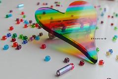 [Rainbow.heart] (Shadow ) Tags: blue red orange 3 green colors beads rainbow focus colorful purple heart brooch 8alb