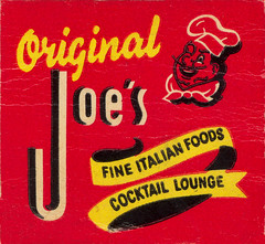 Original Joe's (jericl cat) Tags: original art illustration vintage paper restaurant design italian character ephemera chef joes matches matchbook sanfrnacisco 144taylor