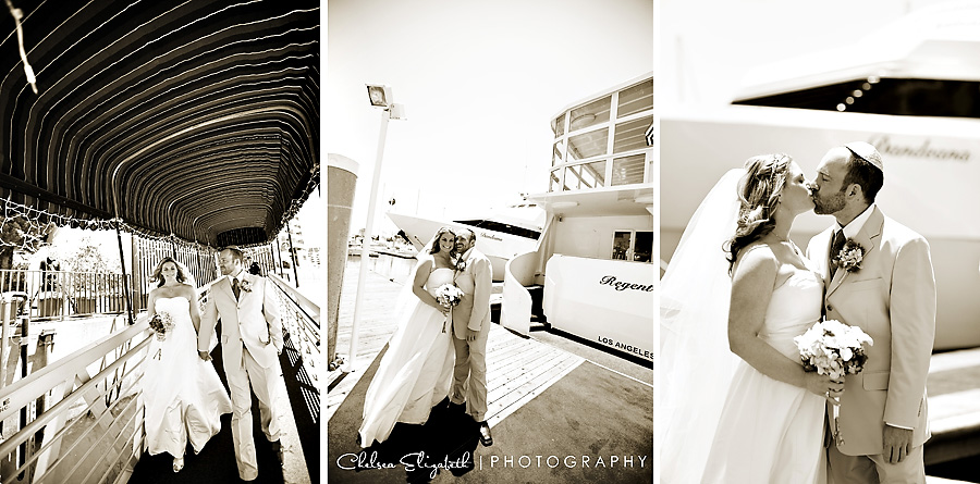 sepia dock boat bridal portraits marina del rey wedding