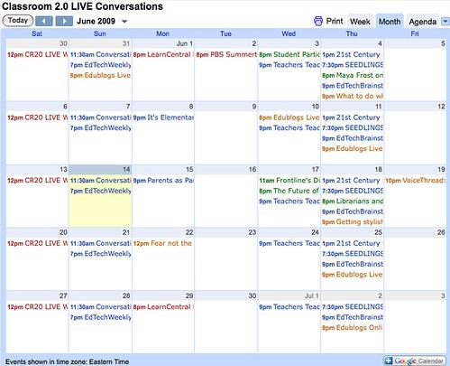 Calendar of Webinar events