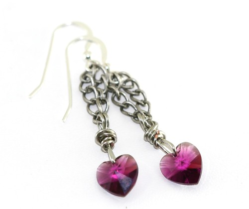 Antiqued Silver and Swarovski Crystal Heart Earrings