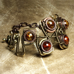 Steampunk Jewelry made by CatherinetteRings - Epic 1 - Bracelet with Amber (Catherinette Rings Steampunk) Tags: fiction canada fashion metal amber wire punk artist industrial mechanical quebec designer handmade montreal daniel victorian wrapped jewelry science bijoux retro steam jewellery fantasy bracelet copper scifi organic etsy brass artisan geekery steampunk neovictorian futurist antiqued proulx catherinetterings danielproulx