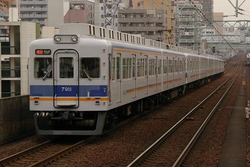 Nankai7000series(first 2 cars) in Shin-Imamiya,Osaka,Osaka,Japan 2009/7/3