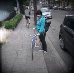 Dev kitted out (zhoffner) Tags: seattle girls 120 bicycle square holga lomo bikes fixedgear trackbike zlog