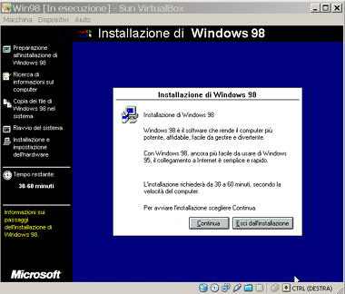 installazione windows 98 in virtualbox