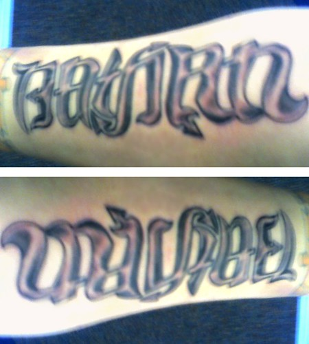 """Nathan"" & ""Michael"" Ambigram Tattoo. This ambigram as a finished tattoo!"