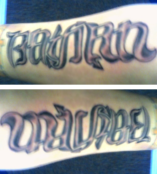 """Nathan"" & ""Michael"" Ambigram Tattoo"