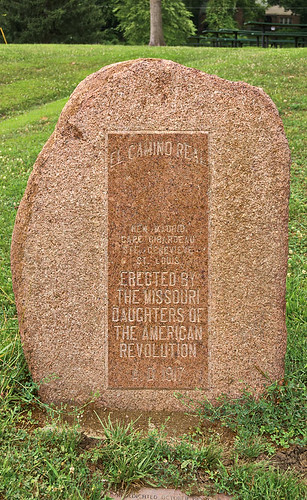 """El Camino Real"" D.A.R. monument, in Kimmswick, Missouri, USA"