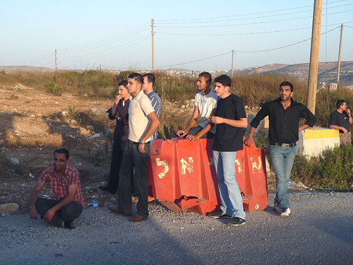 Atara - Bir Zeit checkpoint - 12 July 2009 - young men being detained separately from the other passengers