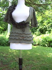 Gray Ruffled & Pleated Sweater (RebeccasArtCloset) Tags: black sweater recycled handmade ooak sewing gray ribbon etsy reconstructed ruffle pleat womenfashiondiyunique