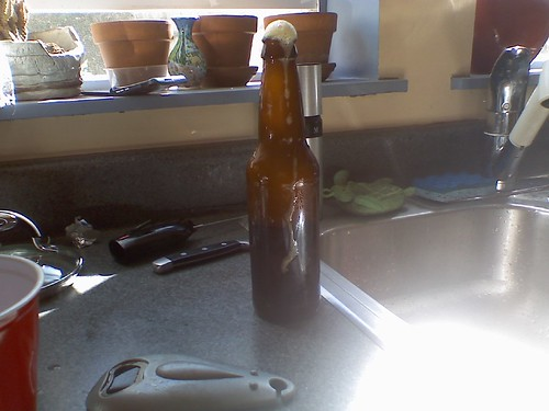 Home Brewed Ale w/brown sugar at the Oakland BBQ. Kept foaming!