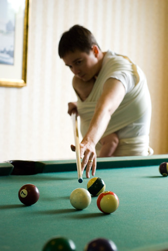 playing pool with baby