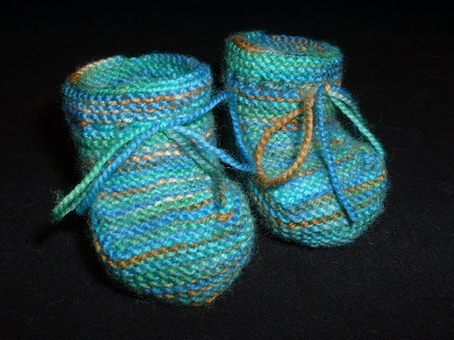 blue green baby booties