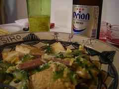 ゴーヤチャンプルとオリオンビール