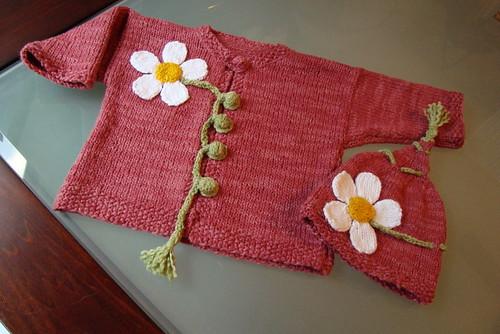 "Flower Cardigan Set: ""Itty-Bitty Nursery"""