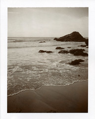 . (Rebecca...) Tags: uk sea film beach water polaroid evening rocks cornwall empty horizon stagnes landcamera wavelet trevaunancecove polapremium polaroidautomatic450 1500asa sepia100film 450sepia0310