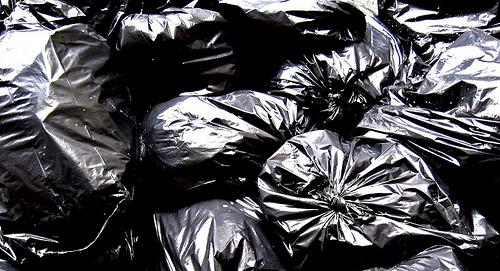 black garbage trash bags