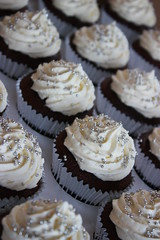 Wedding Cupcakes - White with tiny silver dragees (ConsumedbyCake) Tags: wedding white tower college cakes cookies cake fruit silver hearts sussex cupcakes worthing brighton blossoms lilac cupcake cutting hydrangea venue hydrangeas placecard consumedbycake