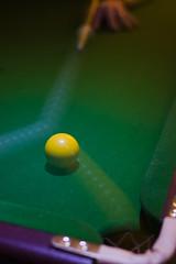 Pot I (Skink74) Tags: uk england motion blur green 20d pool yellow ball movement hand cue hampshire pot pocket strobe momentum eos20d nikkor35f14 nikkor35mm114ai