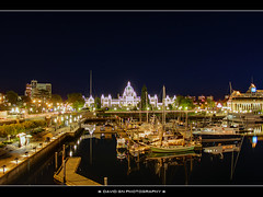 Victoria British Columbia Inner Harbour at Night - HDR (David Gn Photography) Tags: canada night marina reflections stars britishcolumbia victoria vancouverisland hdr victoriabc causeway royalbritishcolumbiamuseum royallondonwaxmuseum innerharbour parliamentbuildings underseagardens canon1855mm photomatix hotelgrandpacific platinumheartaward visionqualitygroup canoneosrebelt1i davidgnphotography thebritishcolumbialegislature