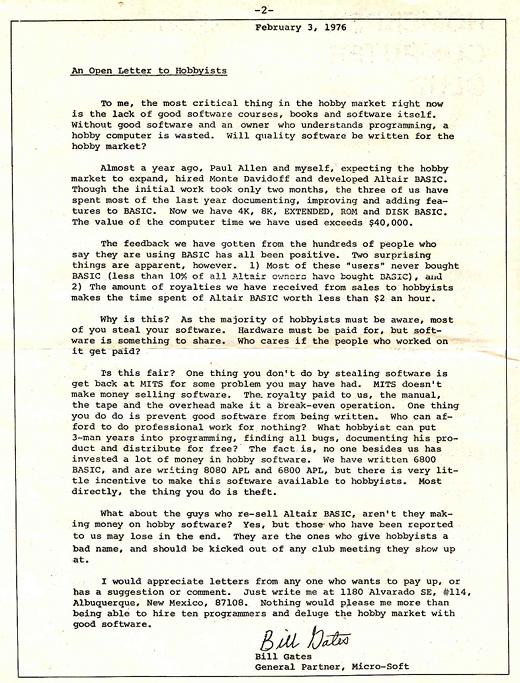 Open Letter by Bill Gates