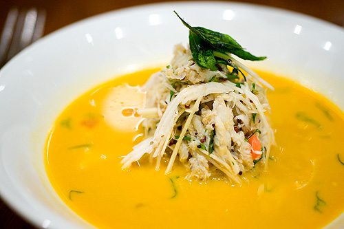 Chef Christine Manfield's Spiced crab, ginger and coconut broth, Four Seasons Bangkok's World Gourmet Festival
