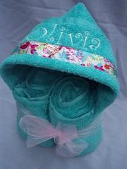 Olivia Aqua Hooded Towel (spiritofgiving) Tags: towels custom personalized hooded