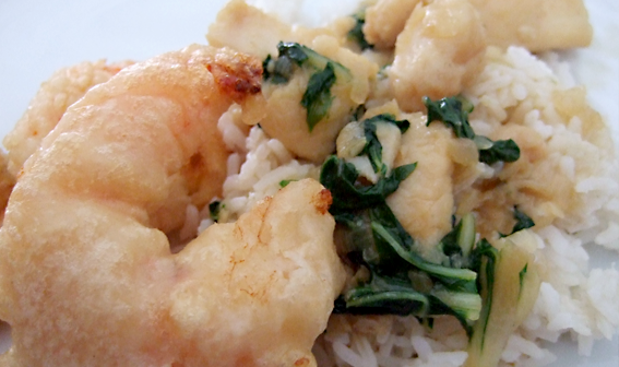 beer battered shrimp with panga stirfry
