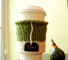 Tea! On the Go Cup Cozy (KnitStorm) Tags: white green pumpkin knitting tea handmade embroidery cream insulation knitted sleeve papercup onthegocup