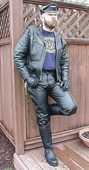 Bryan PDX A (rubberstache) Tags: leather boots smoke moustache jacket gloves tight muir bulge