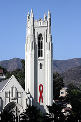 Hollywood United Methodist Church (Fred_T) Tags: california church canon rebel losangeles aids redribbon cathedral chapel belltower hollywood ribbon aidsribbon xti hollywoodunitedmethodistchurch