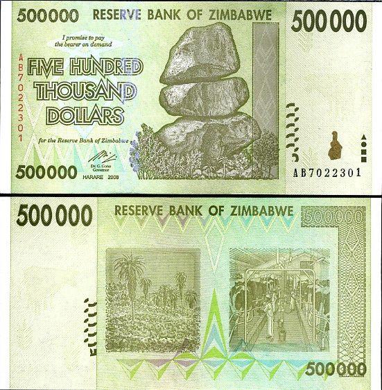 500 000 dolárov Zimbabwe 2008