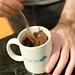 Preparing microwave chocolate cake in a mug, using a CSCW mug for geek points